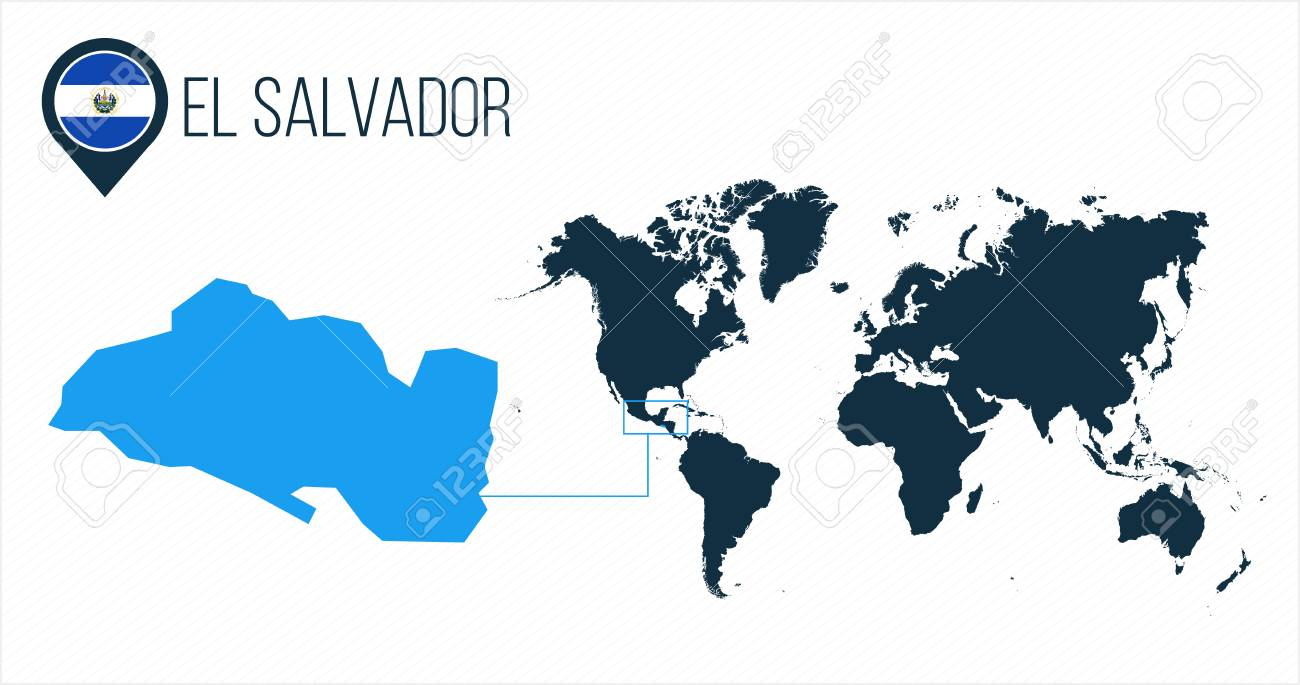 El Salvador On World Map El Salvador Map Located On A World Map With Flag And Map Pointer