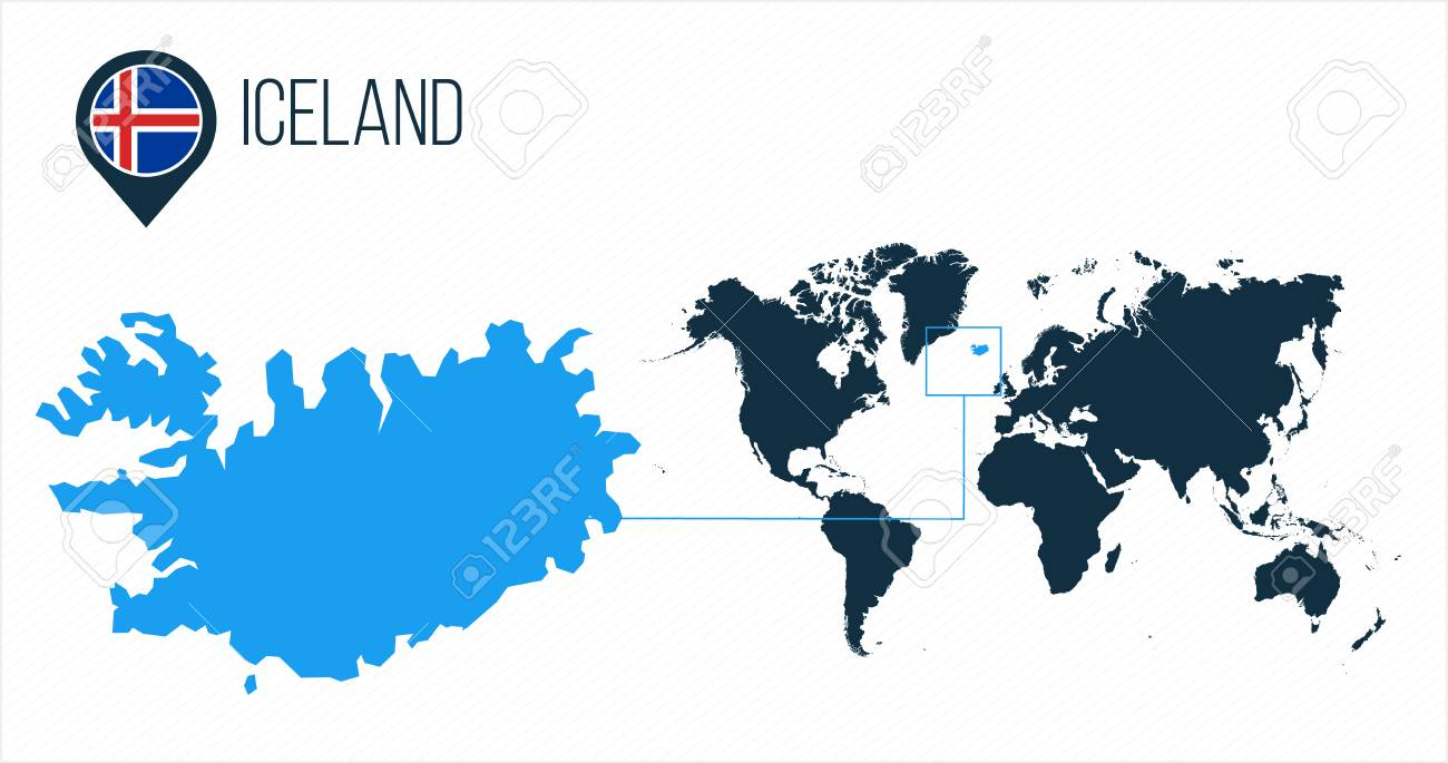 Iceland map located on a world map with flag and map pointer..