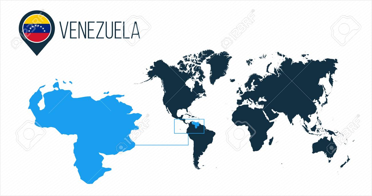 Venezuela map located on a world map with flag and map pointer..