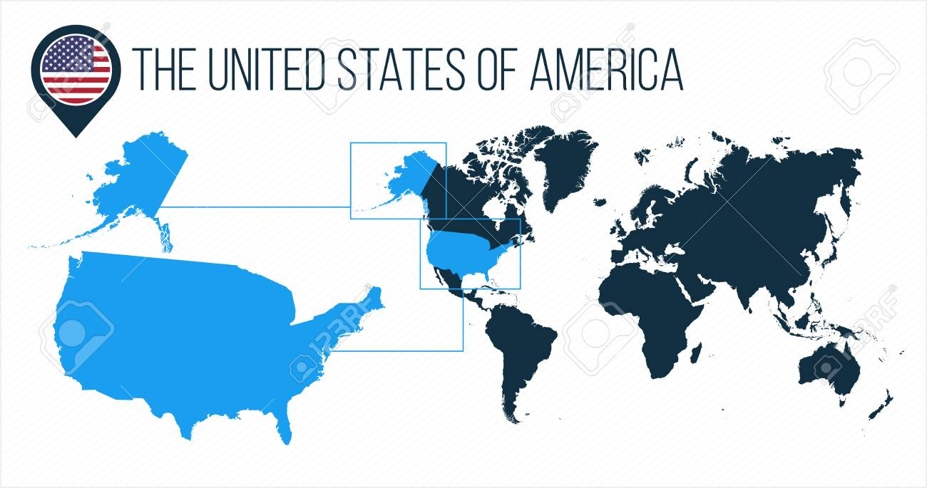 Picture of: The United States Of America Usa Map Located On A World Map With Royalty Free Cliparts Vectors And Stock Illustration Image 124768716