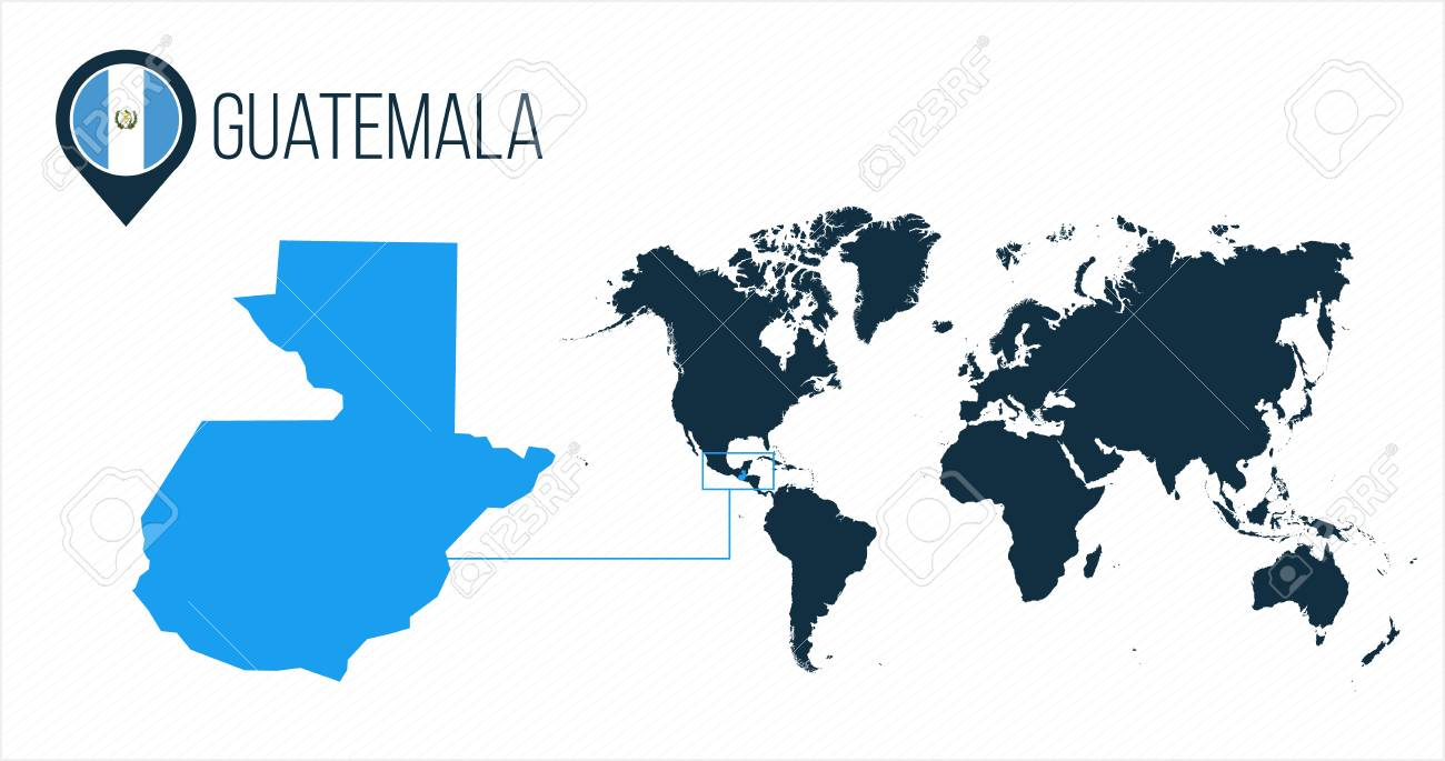Guatemala On World Map Guatemala Map Located On A World Map With Flag And Map Pointer