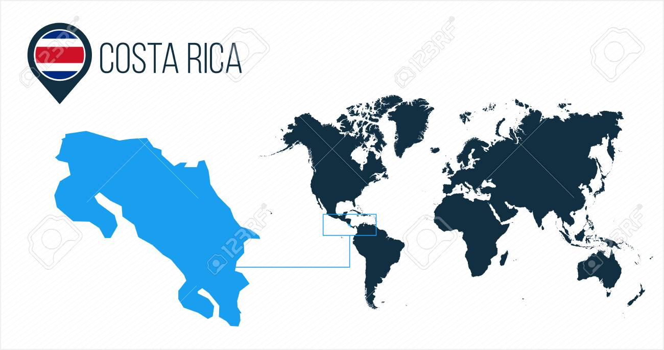 Image of: Costa Rica Map Located On A World Map With Flag And Map Pointer Royalty Free Cliparts Vectors And Stock Illustration Image 124768724