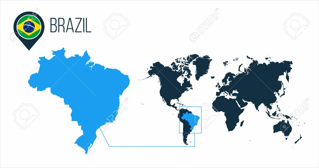 brazil in the world map Brazil Map Located On A World Map With Flag And Map Pointer Or Royalty Free Cliparts Vectors And Stock Illustration Image 124768732 brazil in the world map