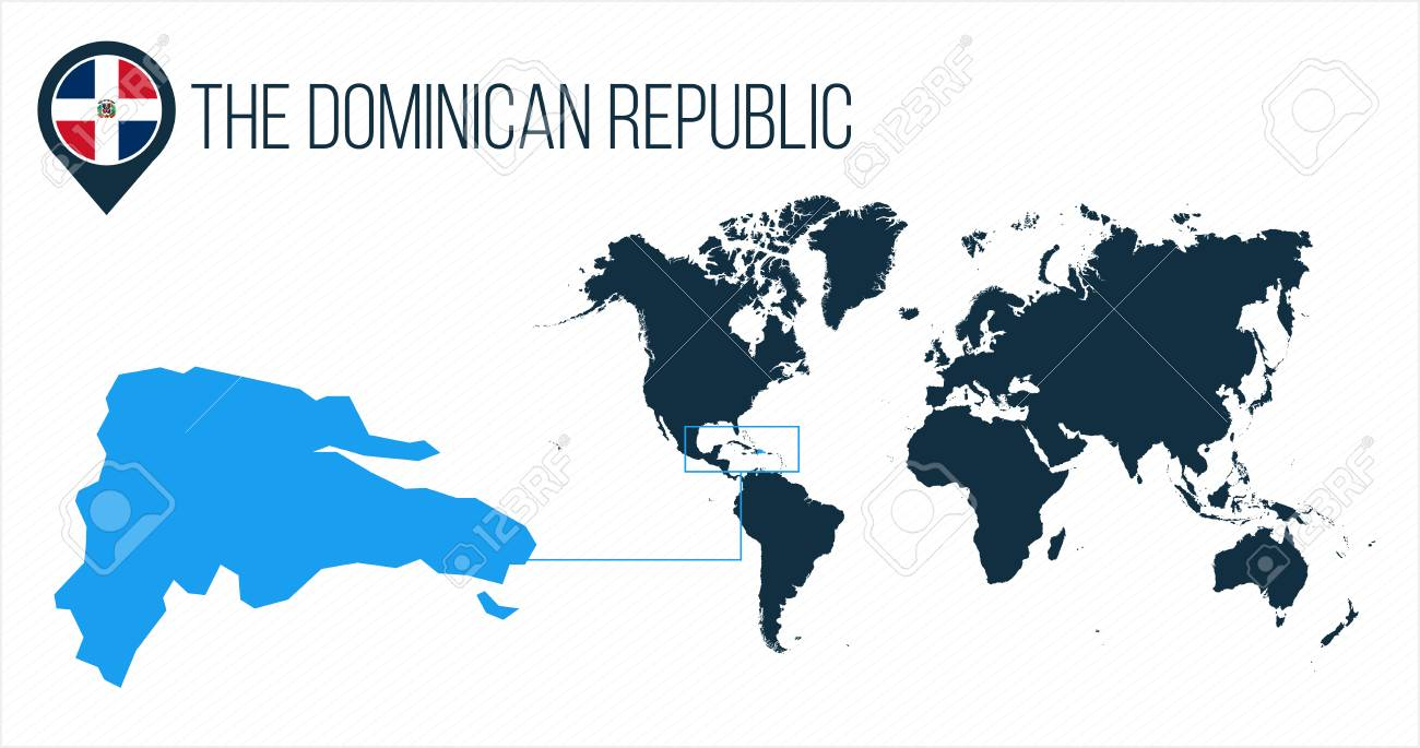 The Dominican Republic map located on a world map with flag and.. on cancun world map, grenada world map, indonesia world map, cuba world map, ecuador world map, guatemala world map, haiti world map, jamaica world map, aruba world map, panama world map, peru world map, bahamas world map, honduras world map, philippines world map, portugal world map, caribbean map, mexico world map, st. lucia world map, samoa world map,