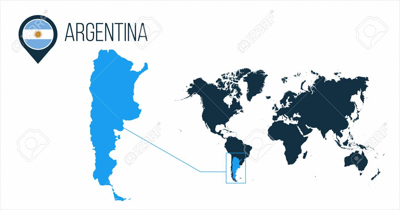 Argentina map located on a world map with flag and map pointer..