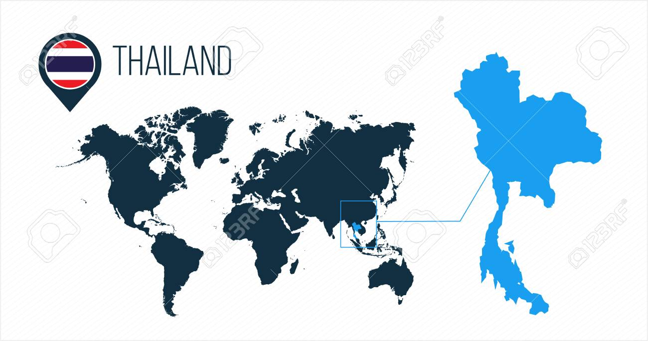 Thailand map located on a world map with flag and map pointer..