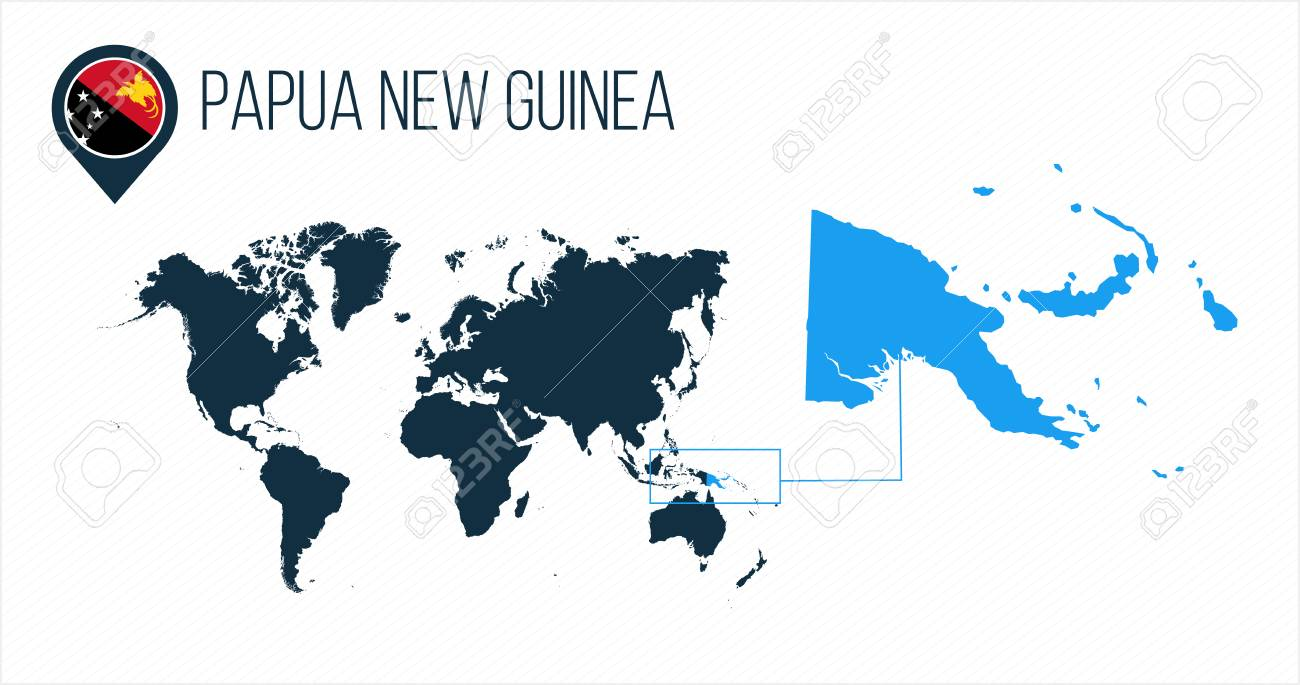 Papua New Guinea map located on a world map with flag and map..