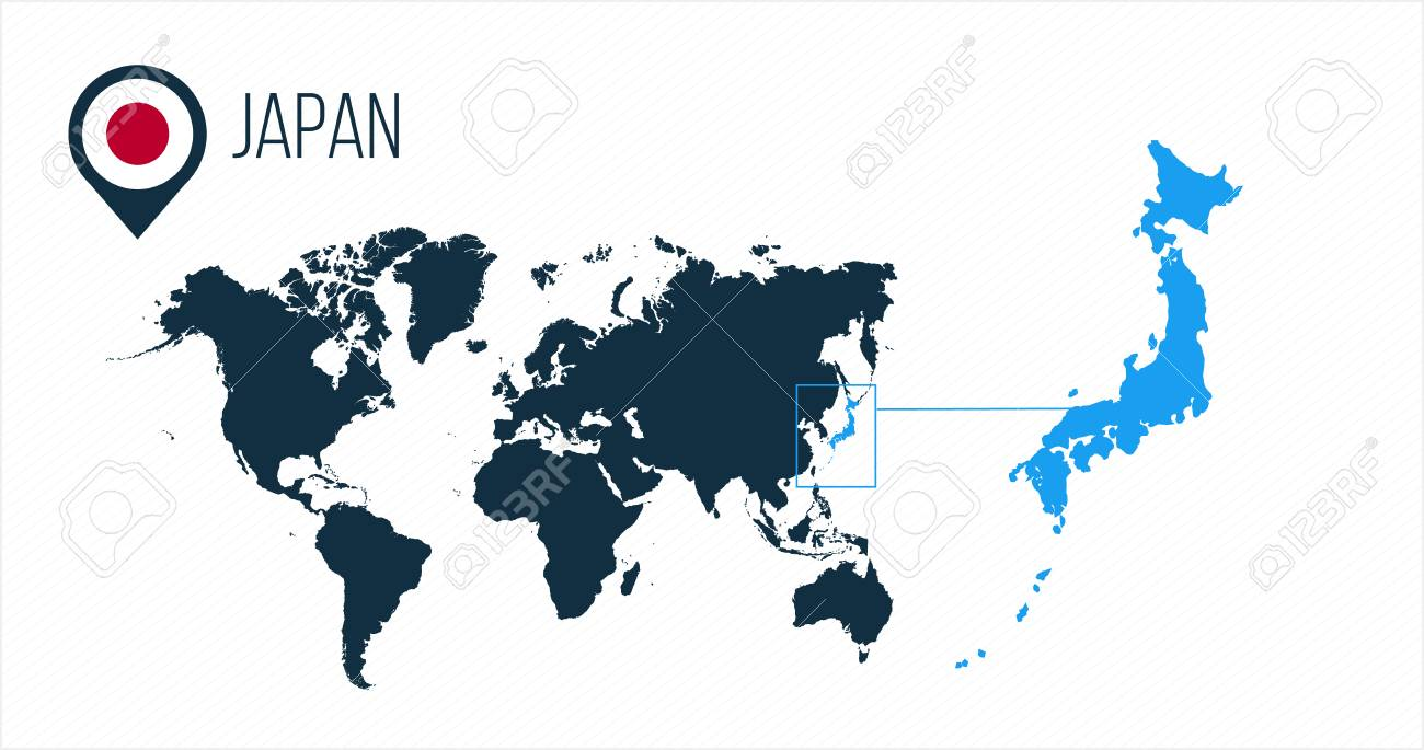 Japan map located on a world map with flag and map pointer or..