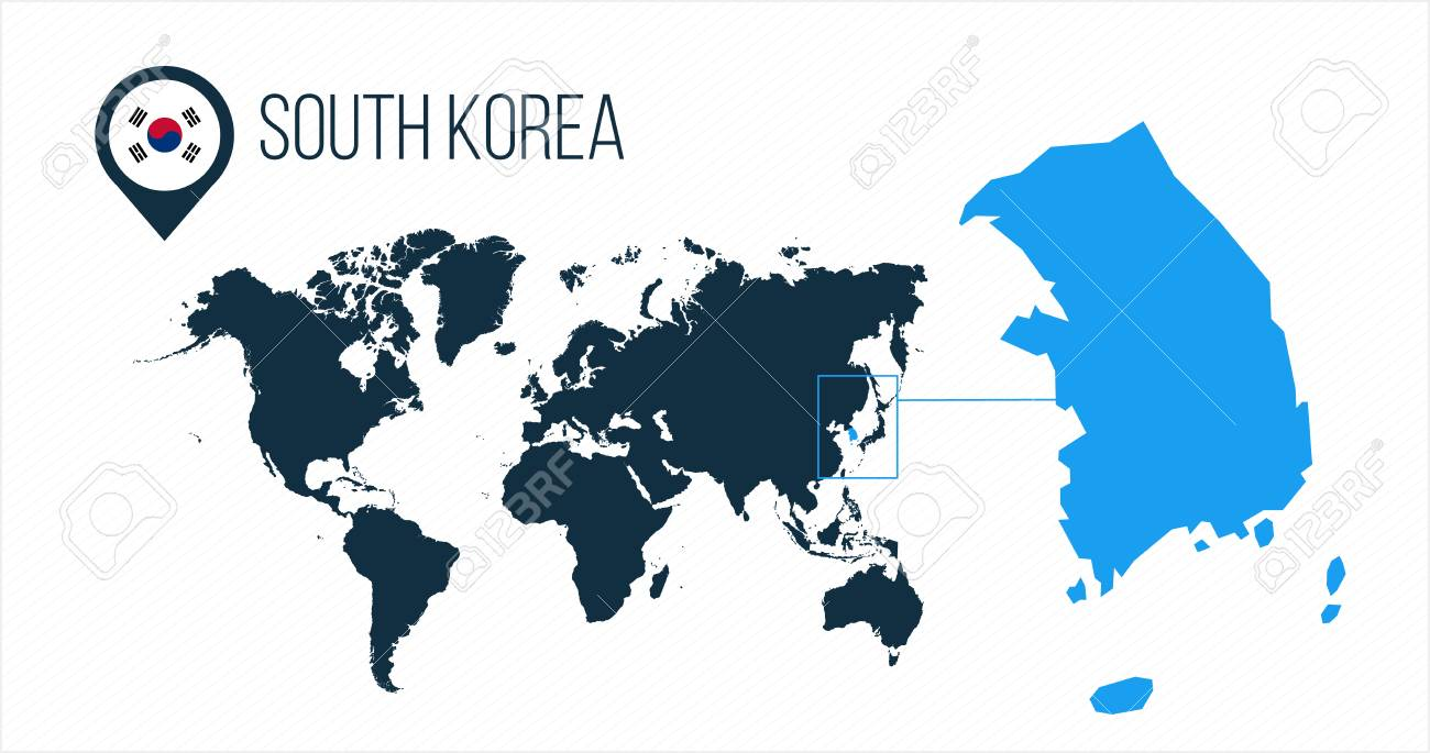 South Korea map located on a world map with flag and map pointer..