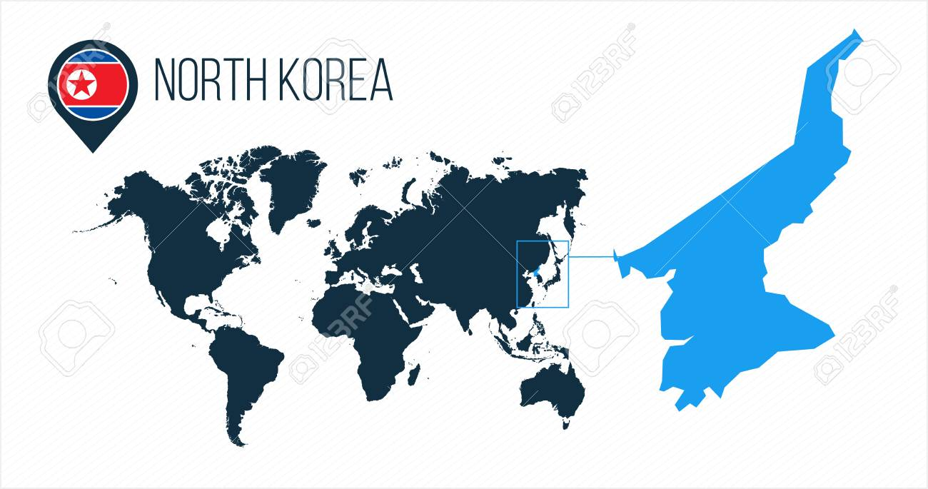 North Korea map located on a world map with flag and map pointer..