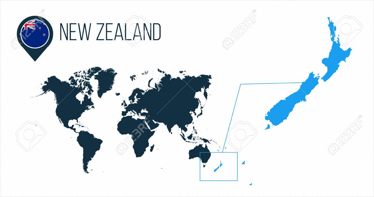 New Zealand Map In World Map.New Zealand Map Located On A World Map With Flag And Map Pointer