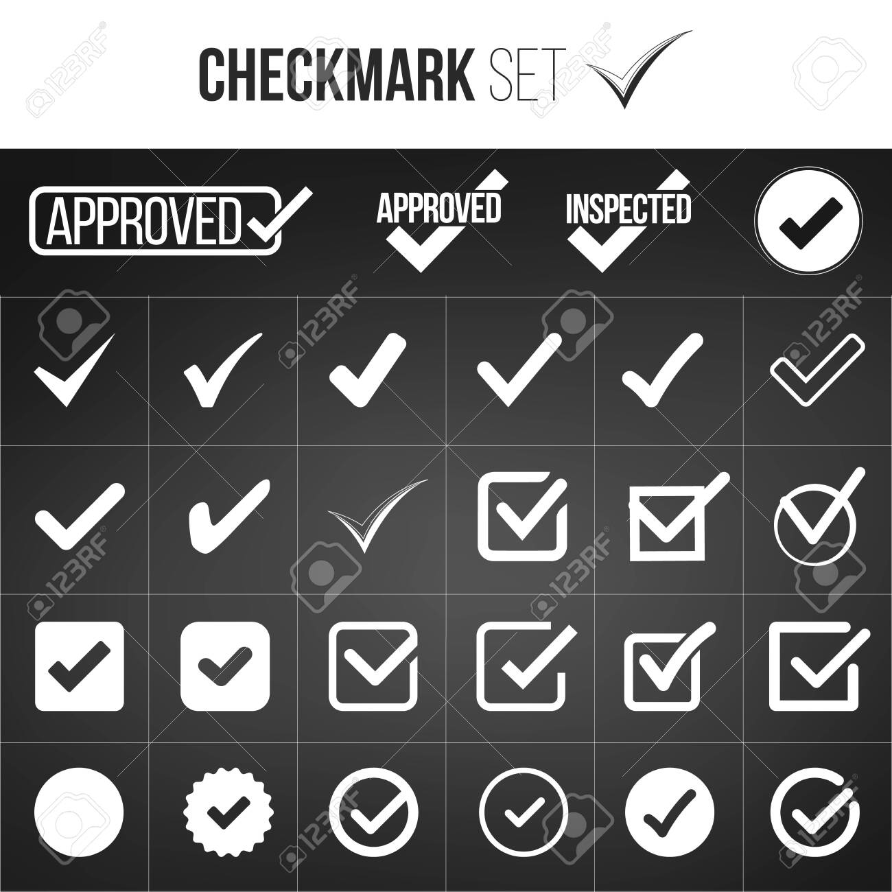Checkmark or tick mark collection set  Acceptance, approval,