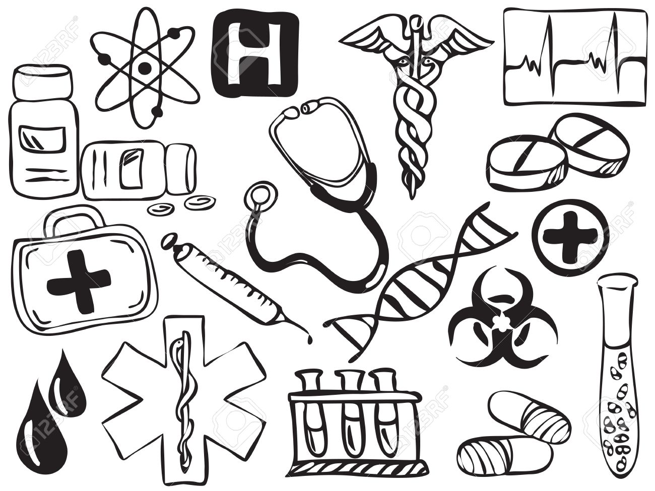 Medical and pharmacy icons drawing - illustration Stock Vector - 11996803