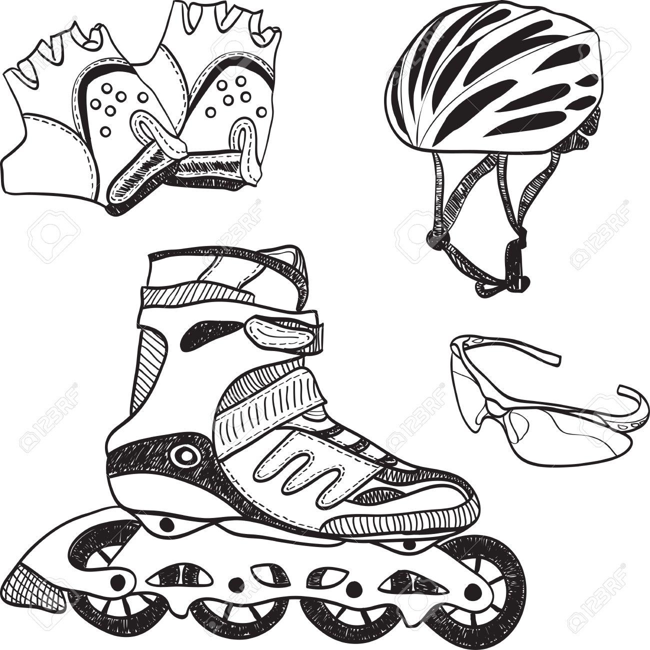 Roller skates book - Illustration Of Roller Skating Equipment Roller Skates Gloves Helmet Glasses Stock Vector