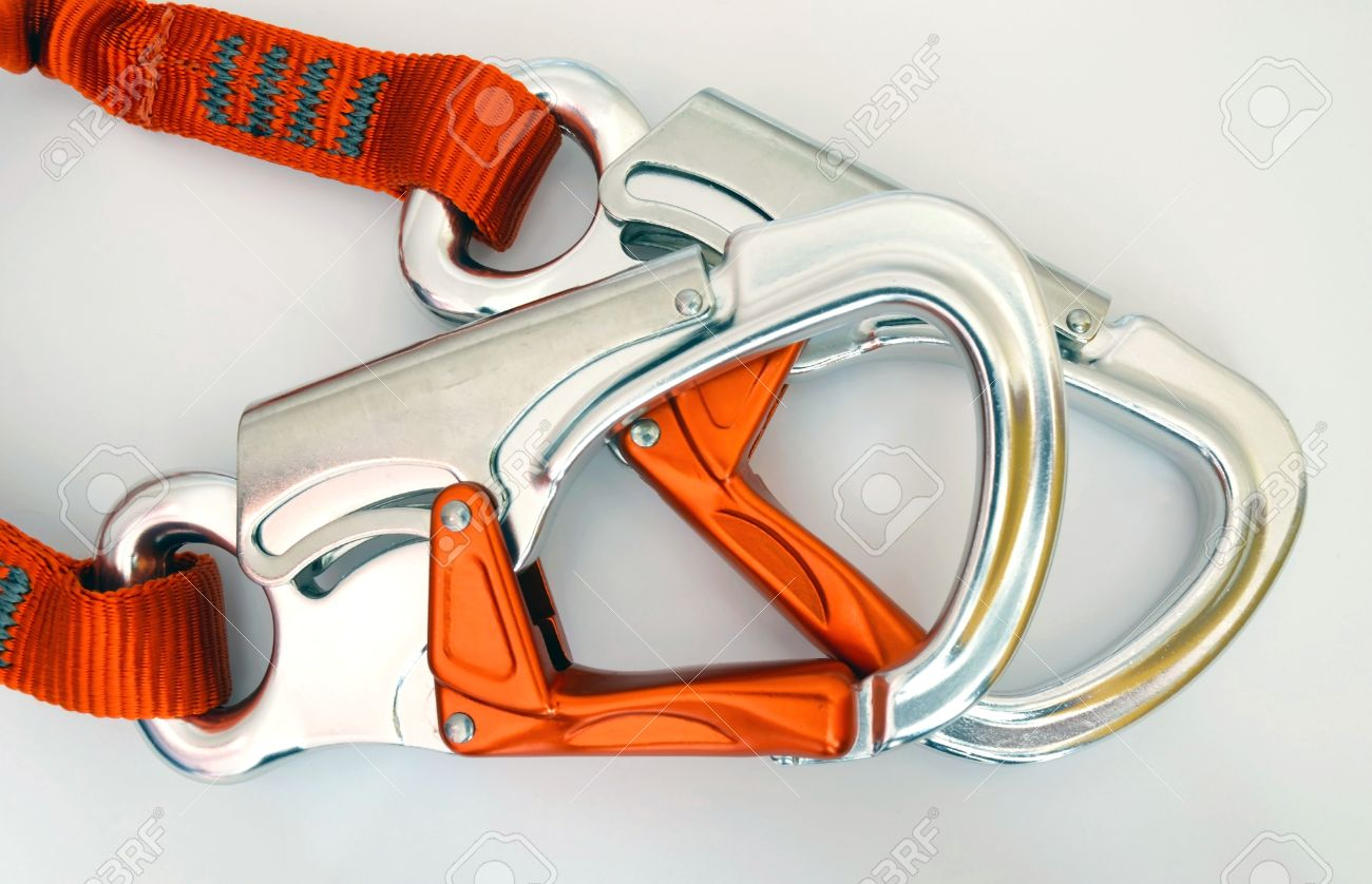 Climbing equipment - detail safety carabiners or quickdraws Stock Photo - 13156307