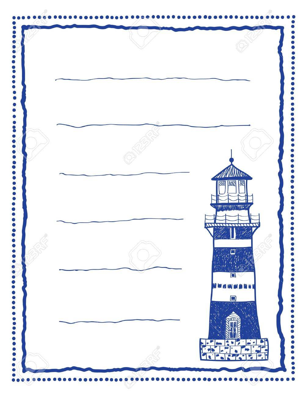 Writing Paper Or Letter Paper With Lighthouse And Frame - Hand ...