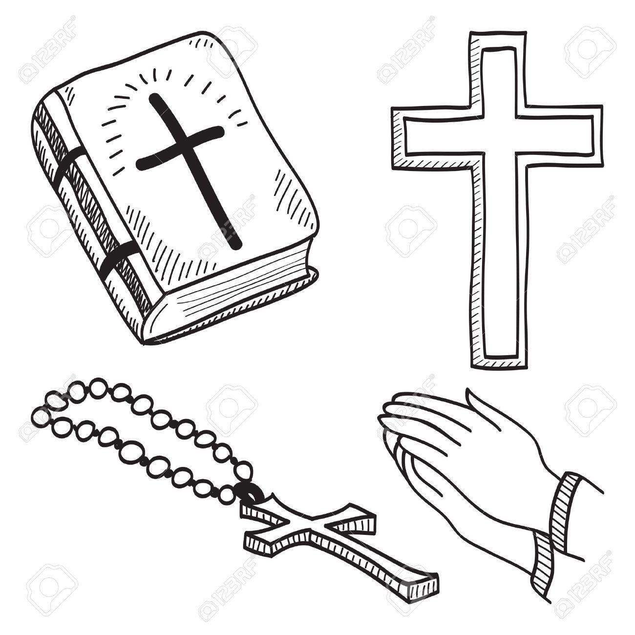 キリスト教手描きイラスト クロス聖書手ロザリオの記号します