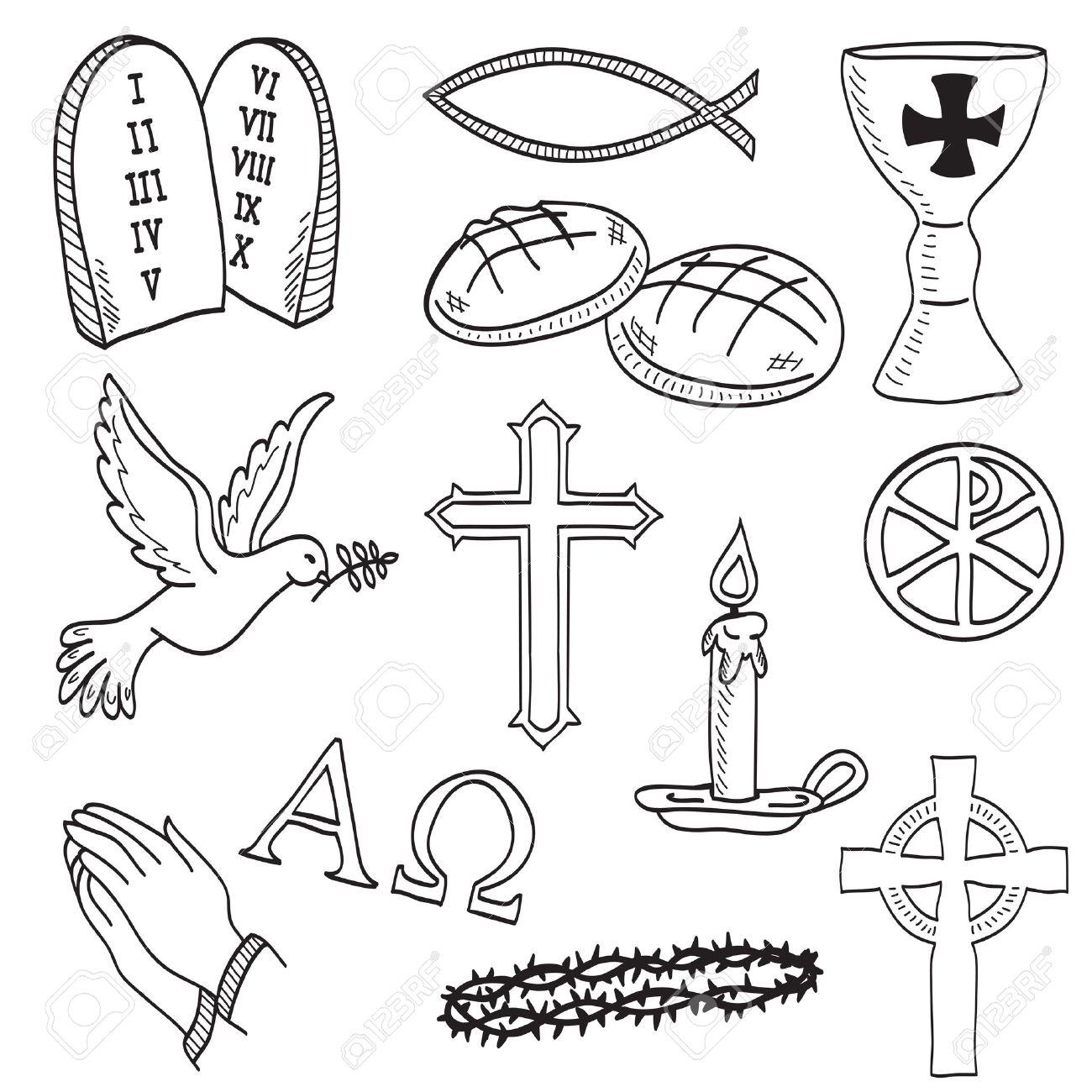 Christian Hand Drawn Symbols Illustration Cross Hands Fish