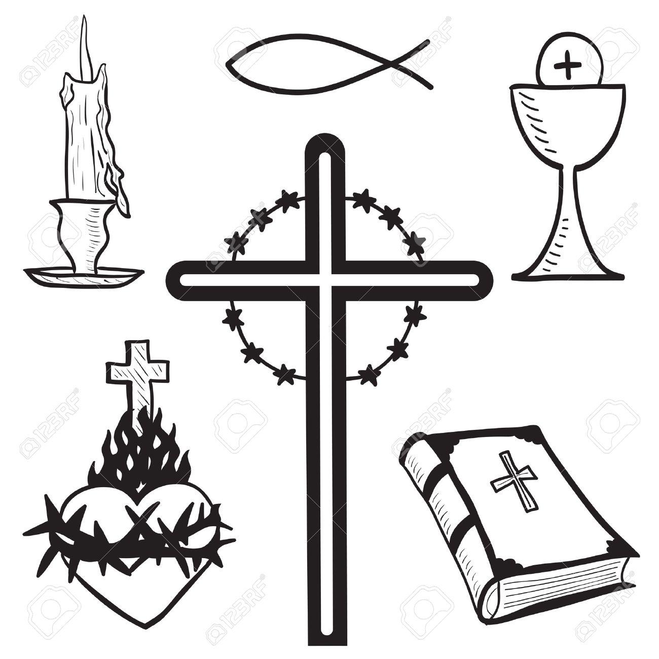 キリスト教手描きイラスト ろうそく十字架聖書魚心臓