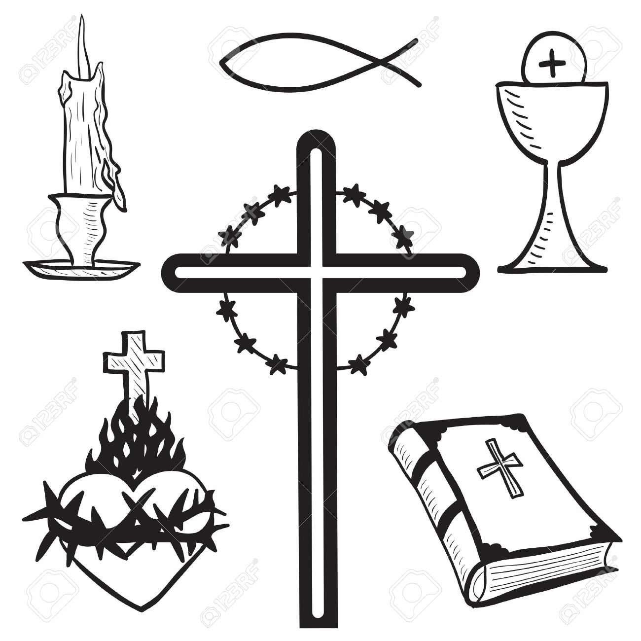 christian hand drawn symbols illustration candle cross bible rh 123rf com Praying Hands Clip Art Christian Graphics and Clip Art