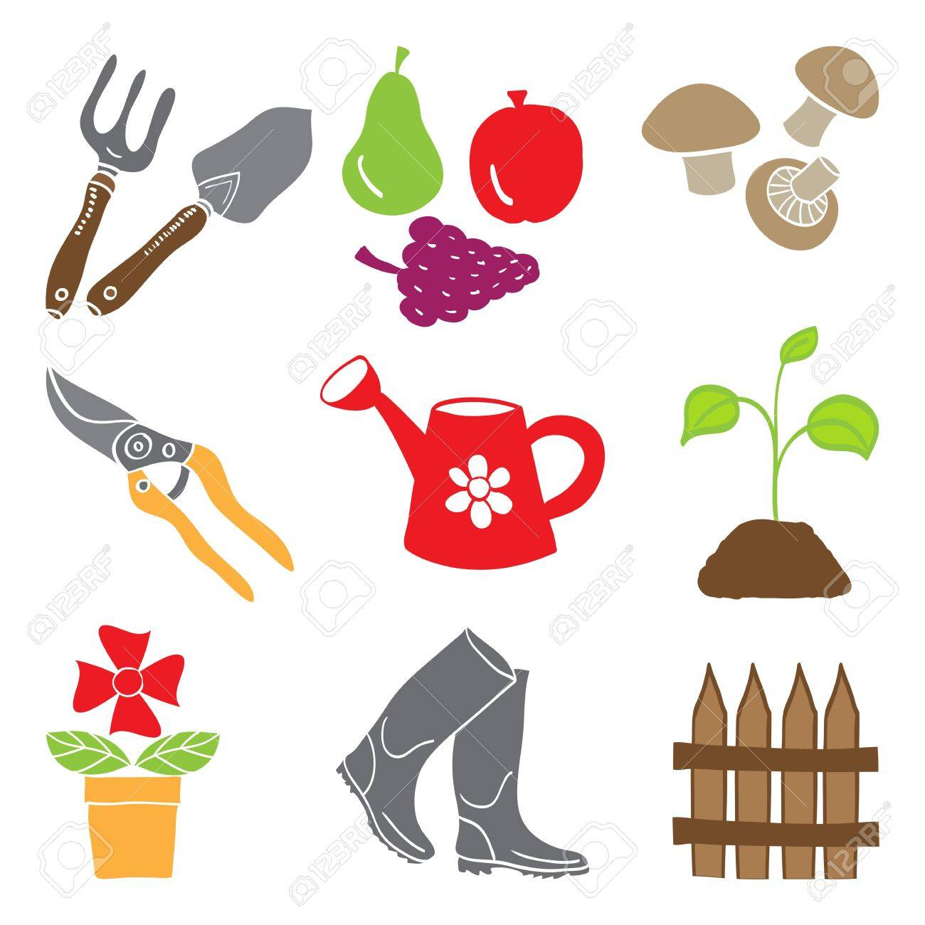 Colored gardening icons isolated on white background - tools and plants Stock Vector - 13675777