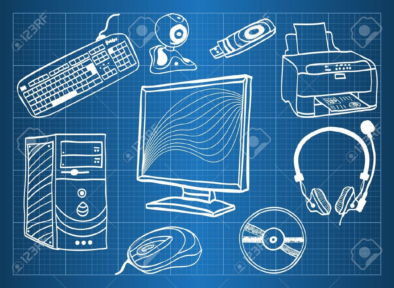Blueprint Von Computer-Hardware - Peripheriegeräte, Sketch Stil ...