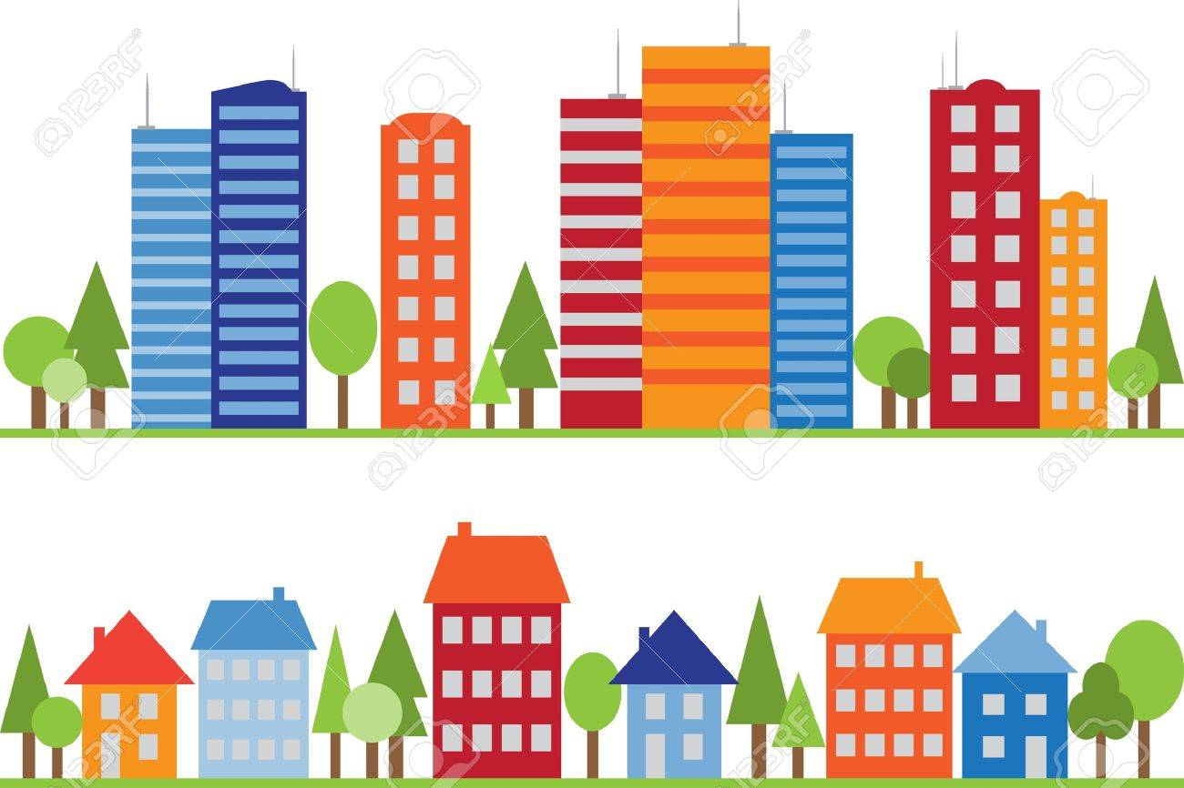 Seamless pattern of city, town or village with trees - 13766026