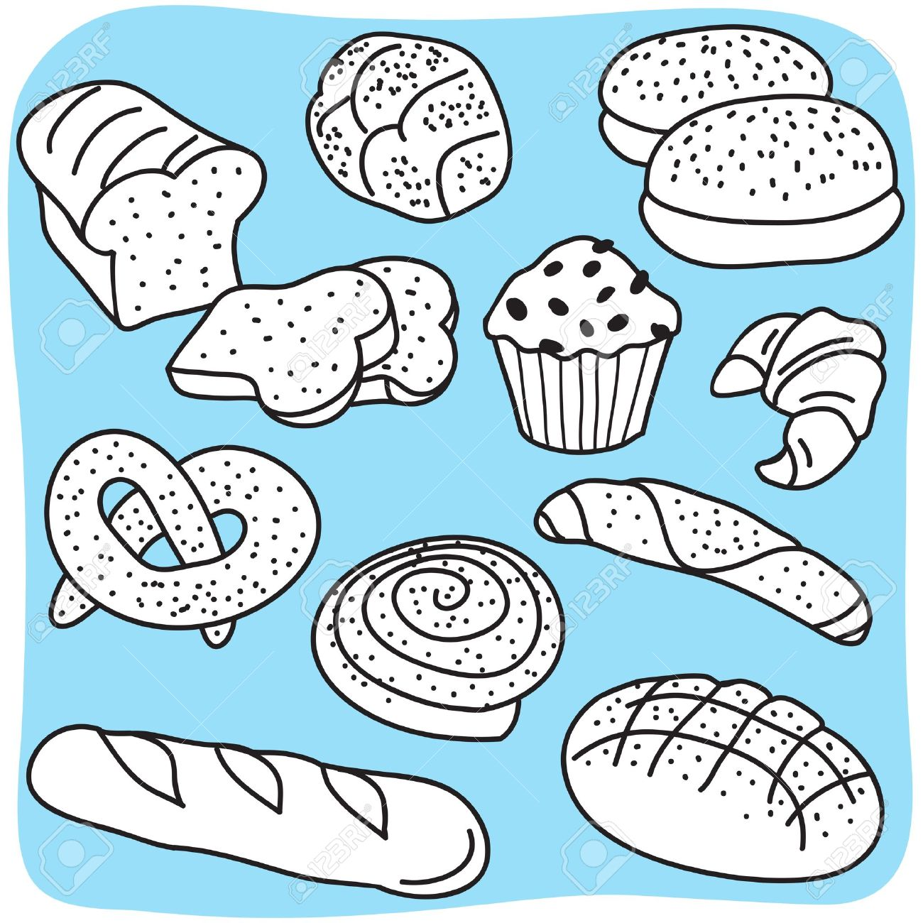 Bakery products, bread and cereal goods - hand-drawn illustration Stock Vector - 14186751