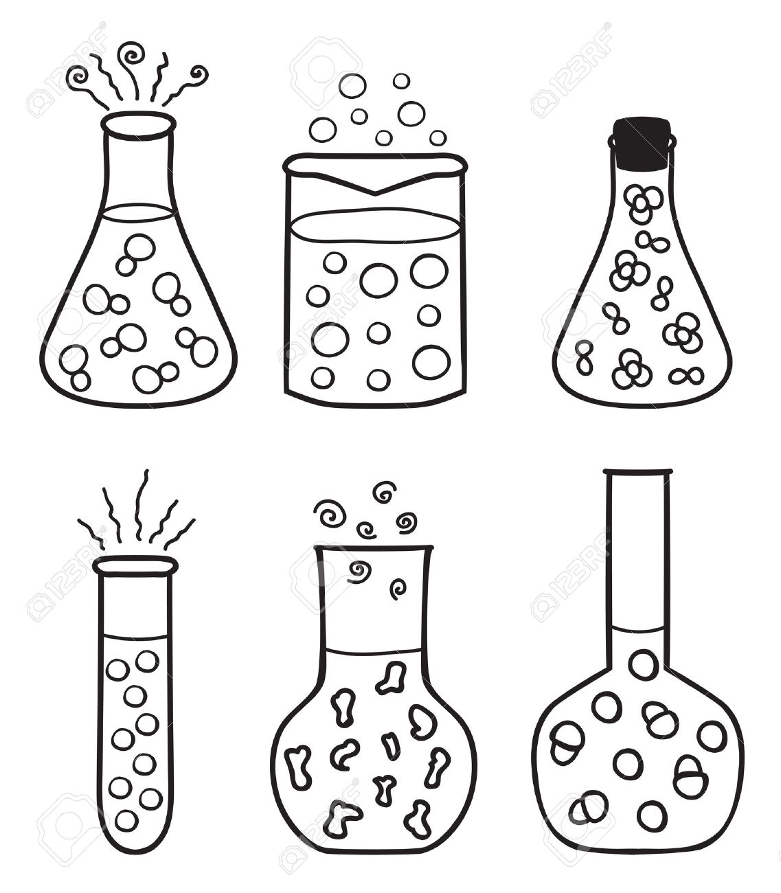 set of chemical test tubes hand drawn illustration stock vector 14484043 - Chemistry Coloring Book