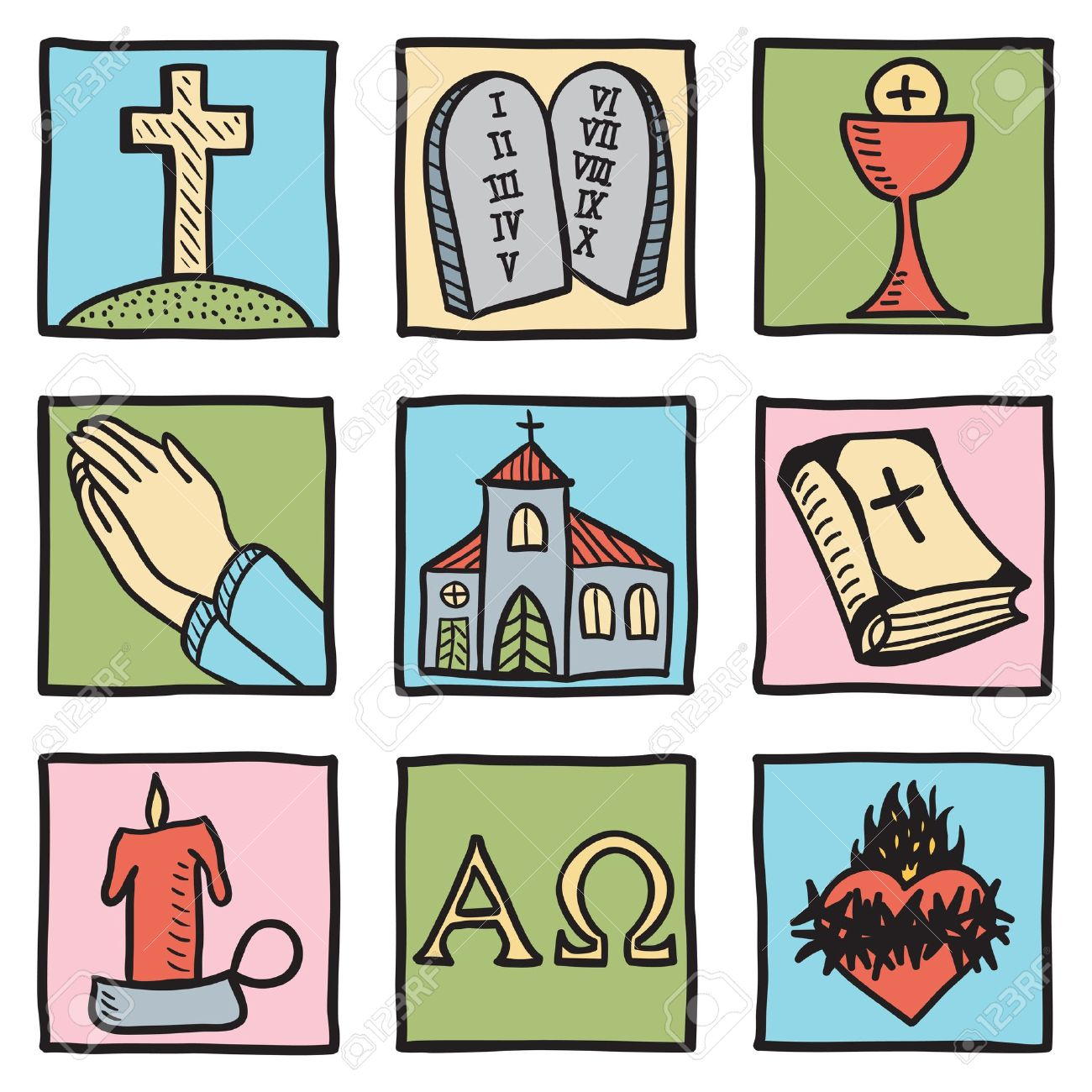 Set Of Christianity Symbols - Hand Drawn Illustration Royalty Free ...