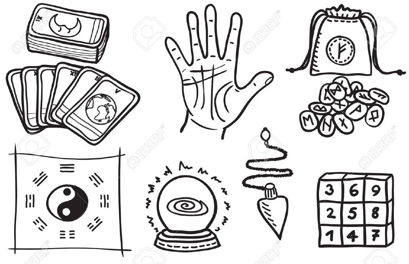 various types of fortune telling - hand drawn illustration Stock Vector -  14698303