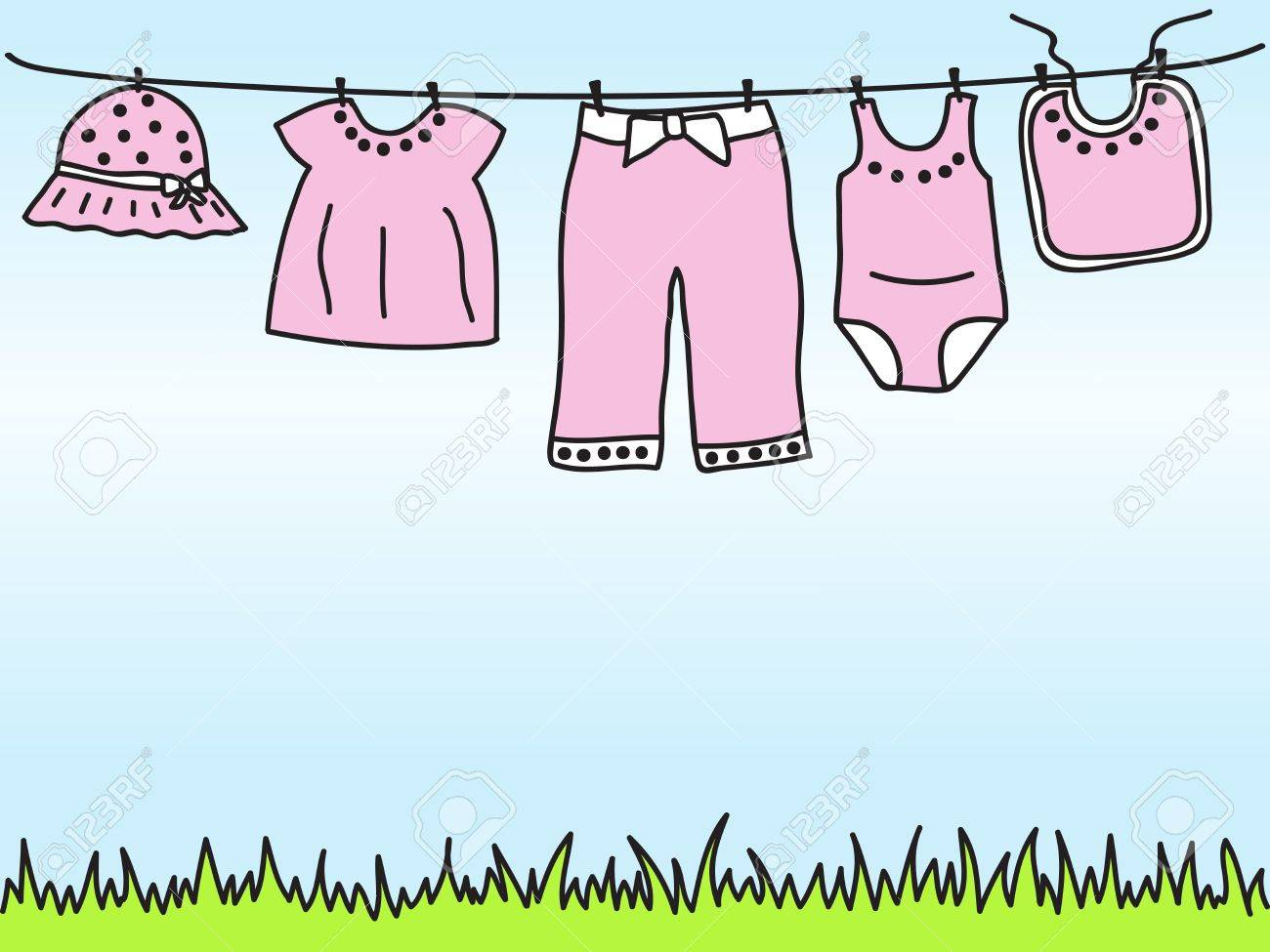 Baby girl clothes on clothesline - hand drawn illustration Stock Vector - 14804017