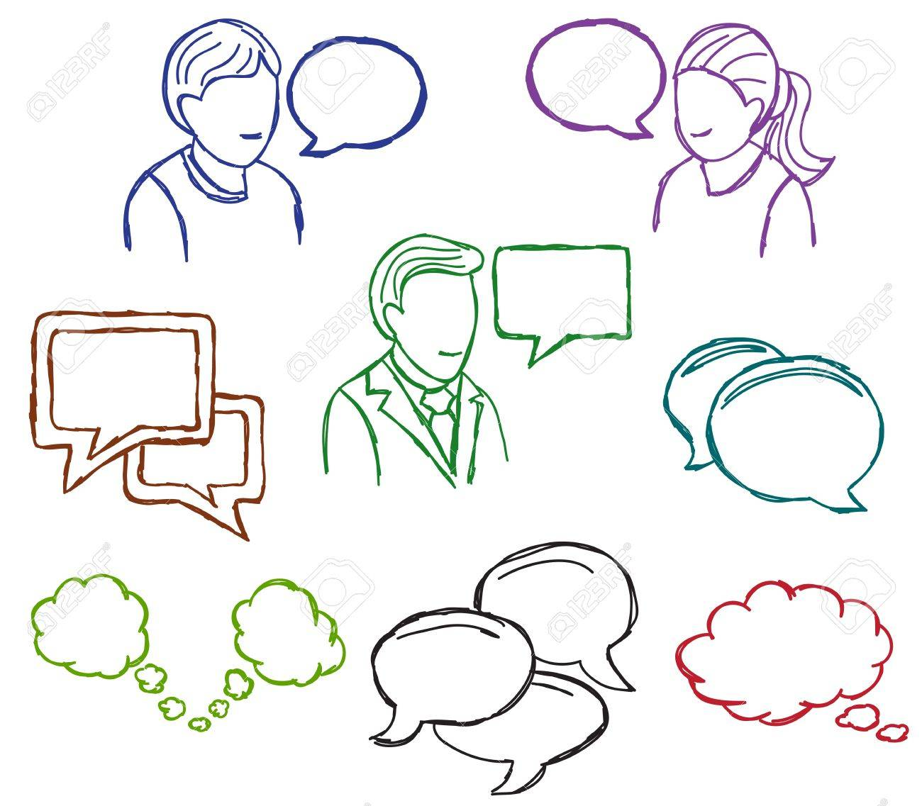 Speech and communication icons - doodle style illustration Stock Vector - 14804021
