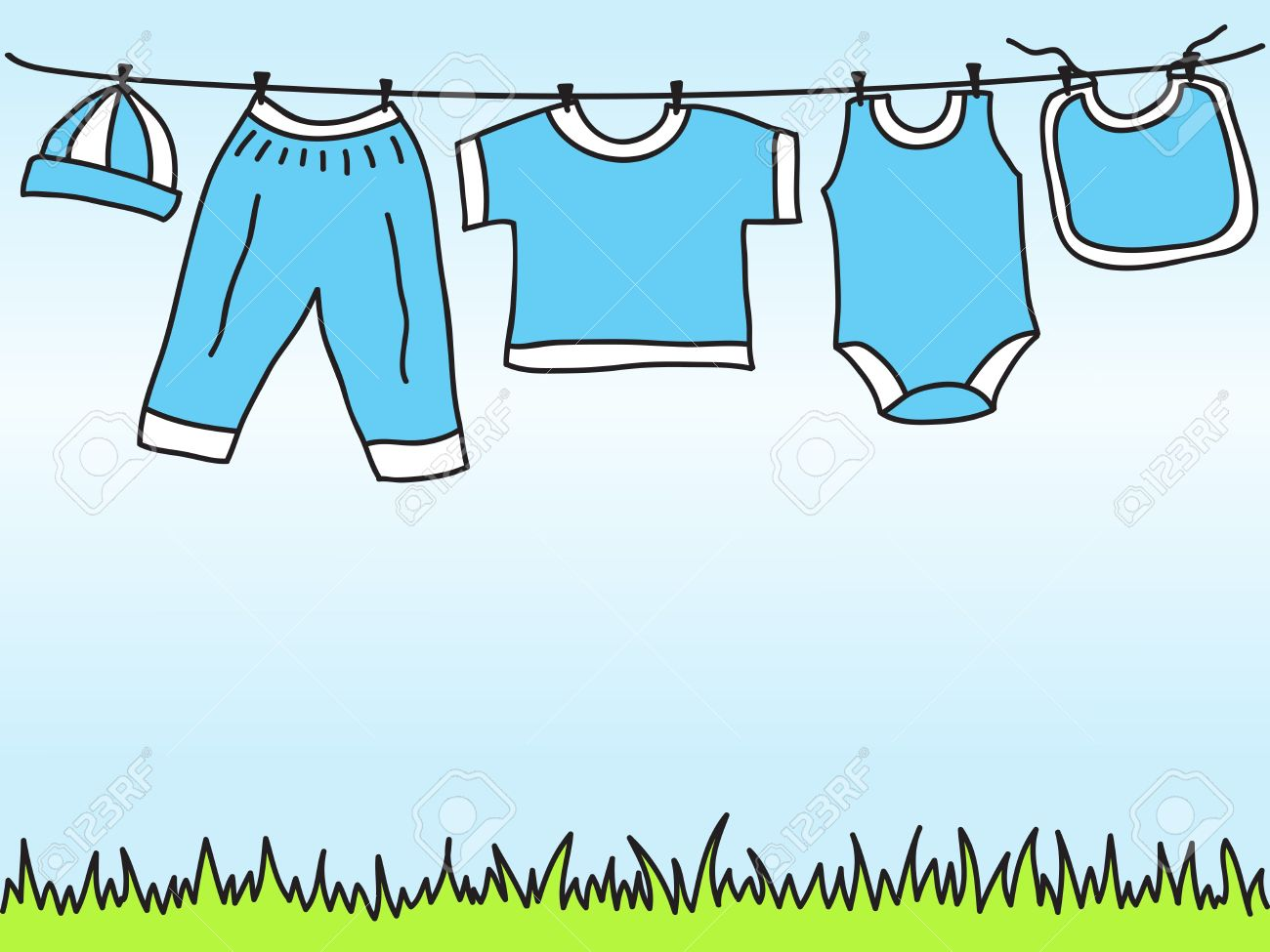 8a1c4ee57 Baby Boy Clothes On Clothesline - Hand Drawn Illustration Royalty ...
