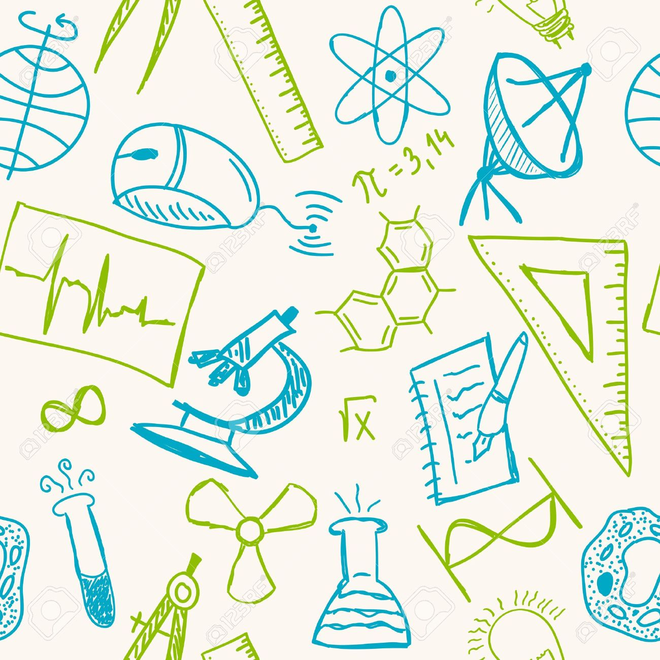 Science Drawings On Seamless Pattern Scientific Background Royalty Free Cliparts Vectors And Stock Illustration Image 15196650