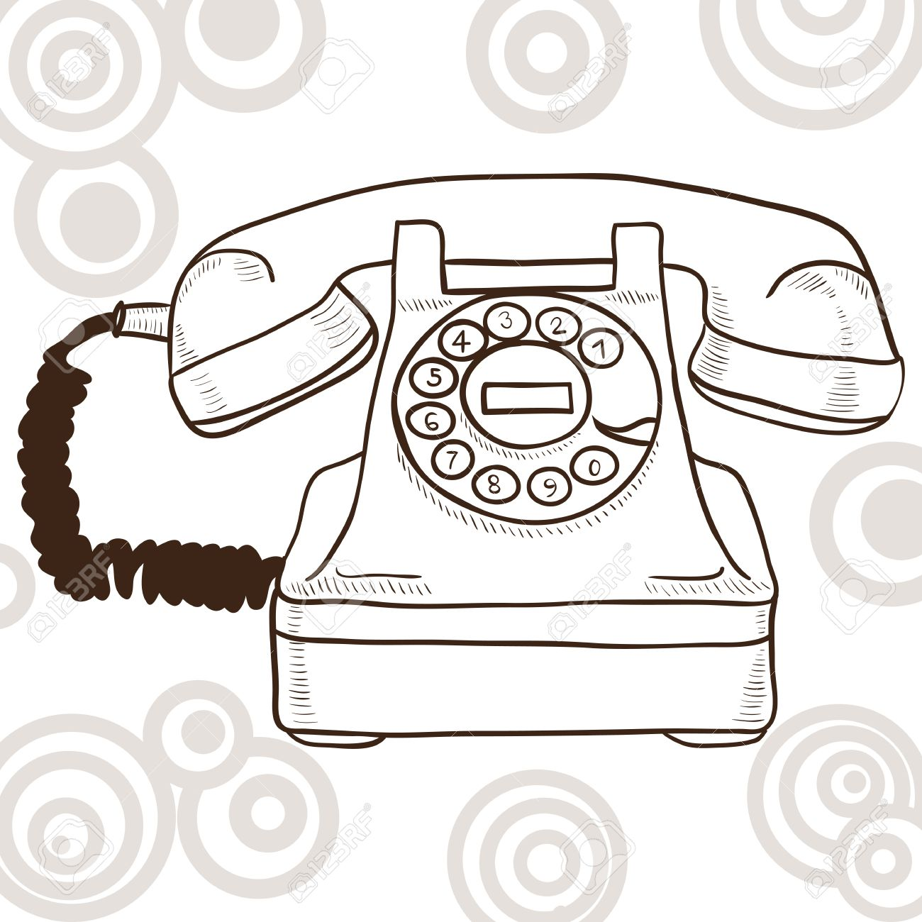 Old Vintage Telephone Illustration With Retro Look