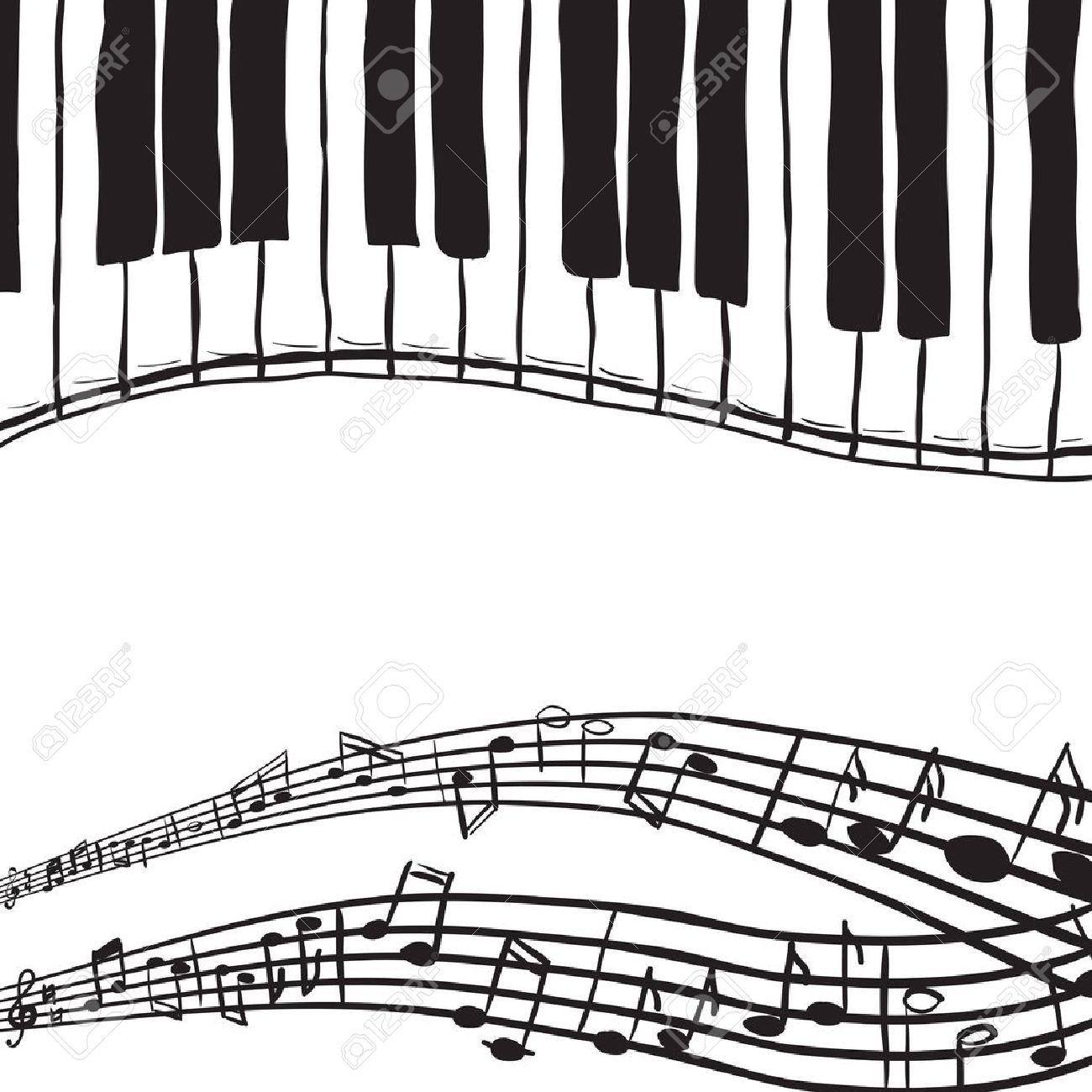 Gut bekannt Illustration Des Touches De Piano Et Notes De Musique - Style  LE98