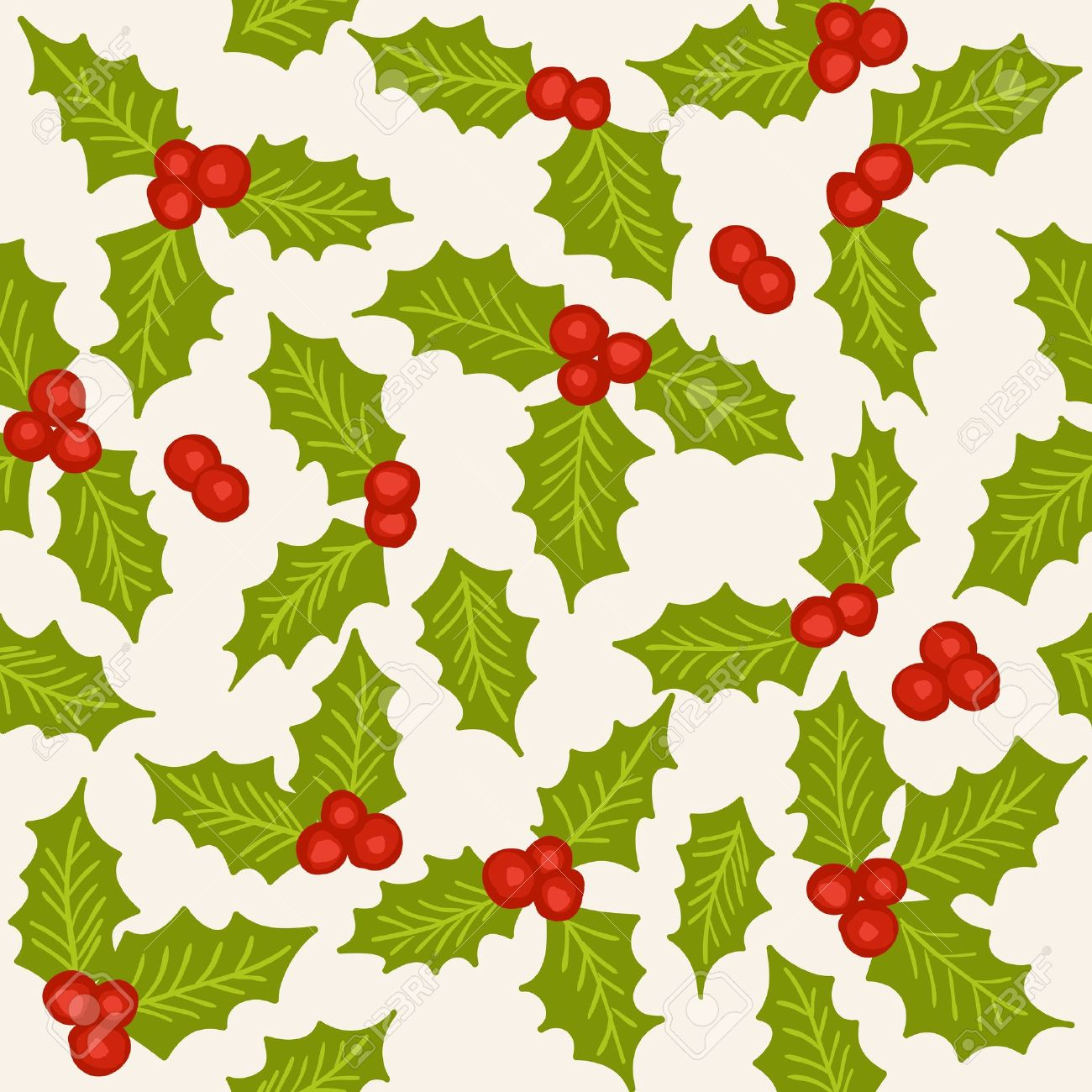 Holly - natural winter seamless pattern - christmas background Stock Vector - 15326121