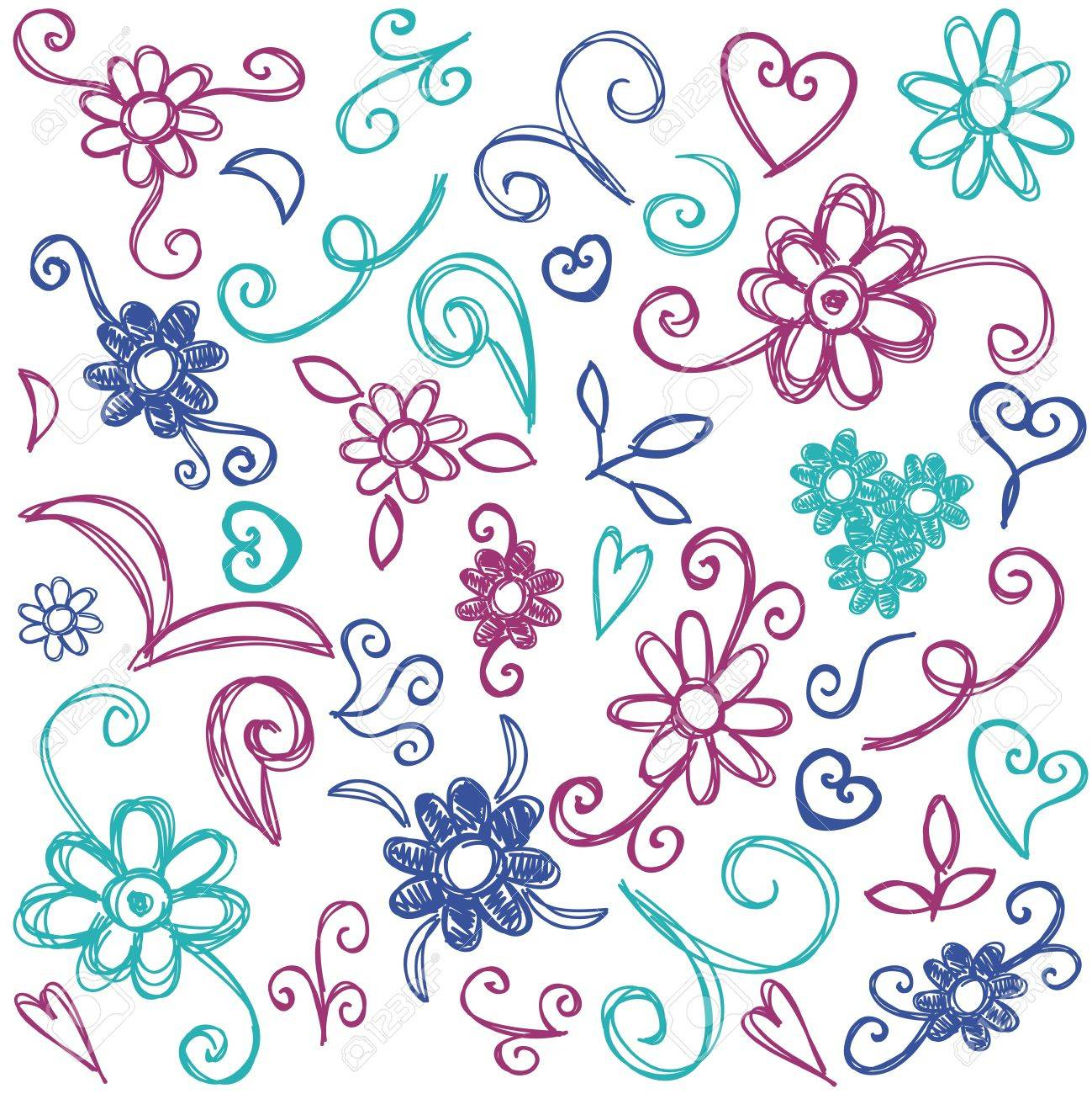 Doodles design elements - hand drawn illustration with flowers, spirals and swirls Stock Vector - 16268489