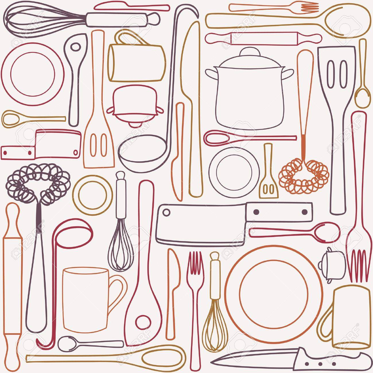 Kitchen Utensils Wallpaper kitchen and cooking utensils and cutlery - seamless pattern