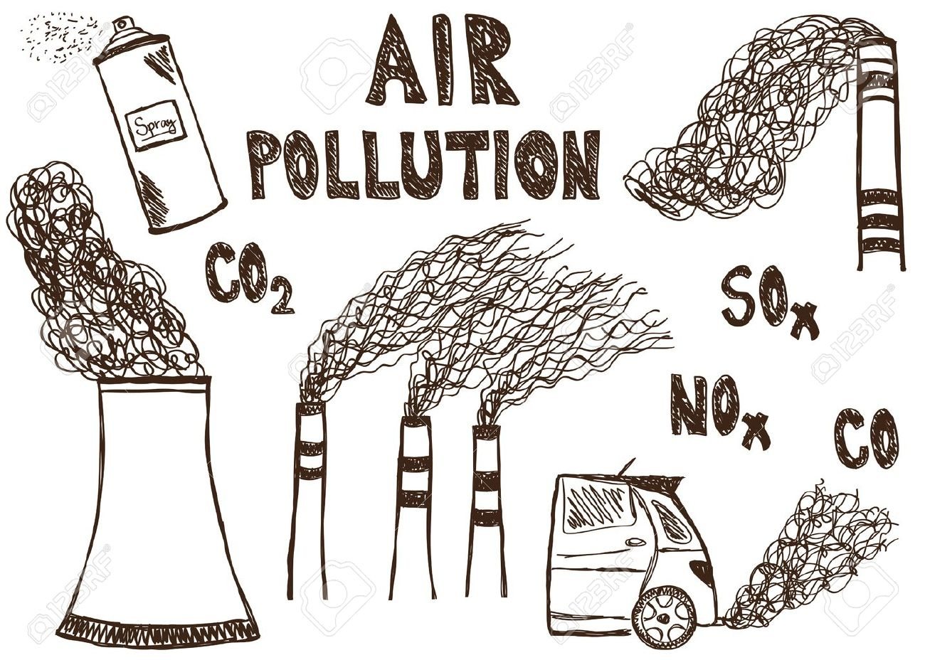 Illustration of air pollution doodle drawings on white background stock vector 17526822