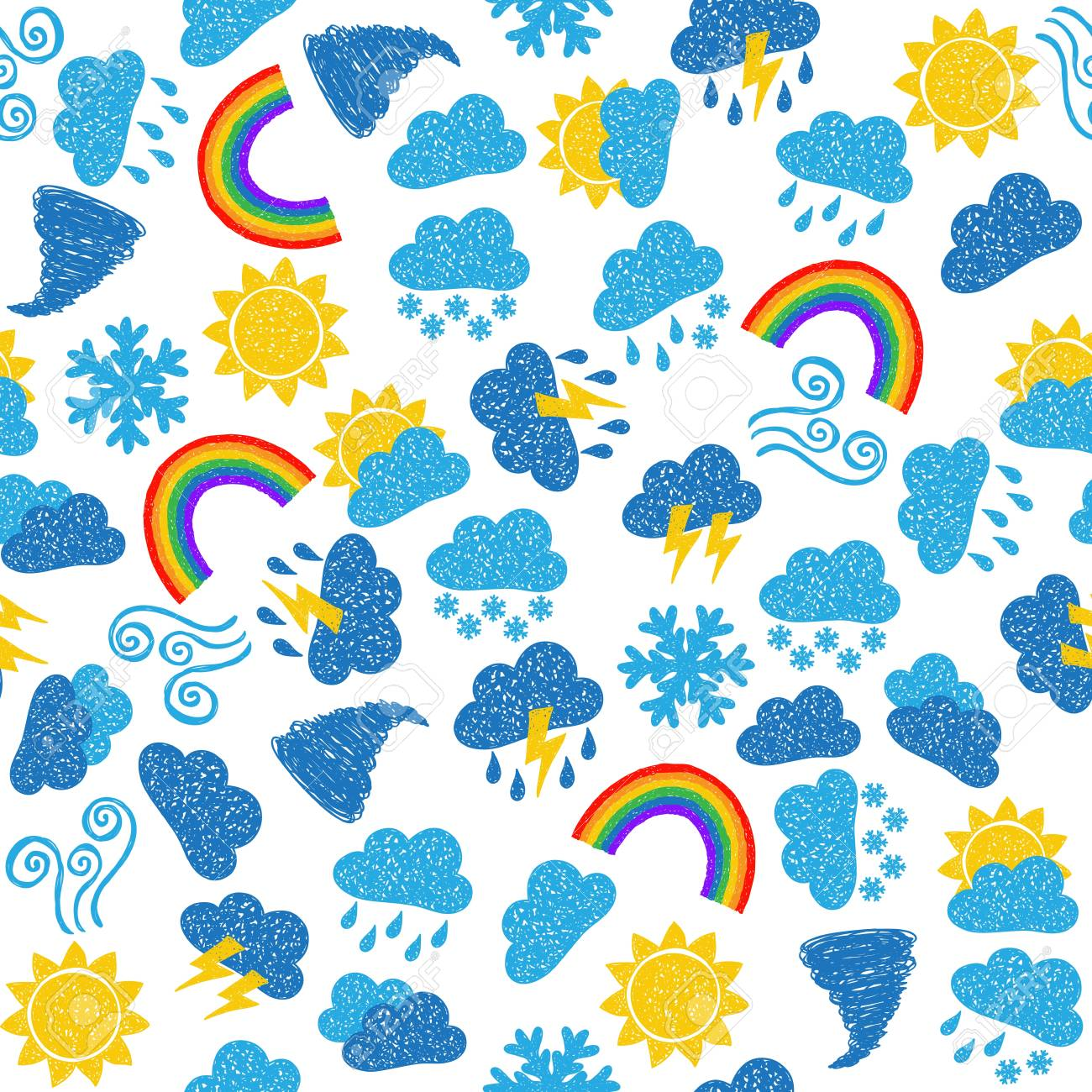 Seamless pattern background - illustration of weather icons, doodle style Stock Vector - 17526661