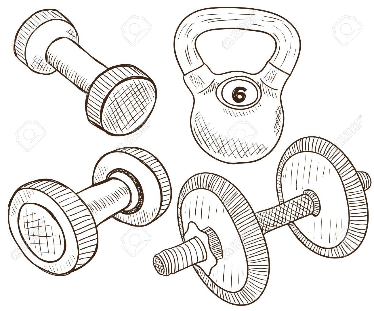 Illustration of four types of dumbbells, doodle style Stock Vector - 18912777