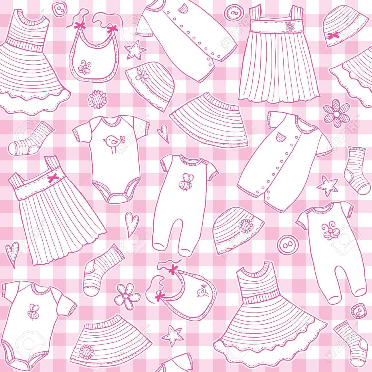 73bea5b4e75b Baby Girl Clothes Seamless Pattern