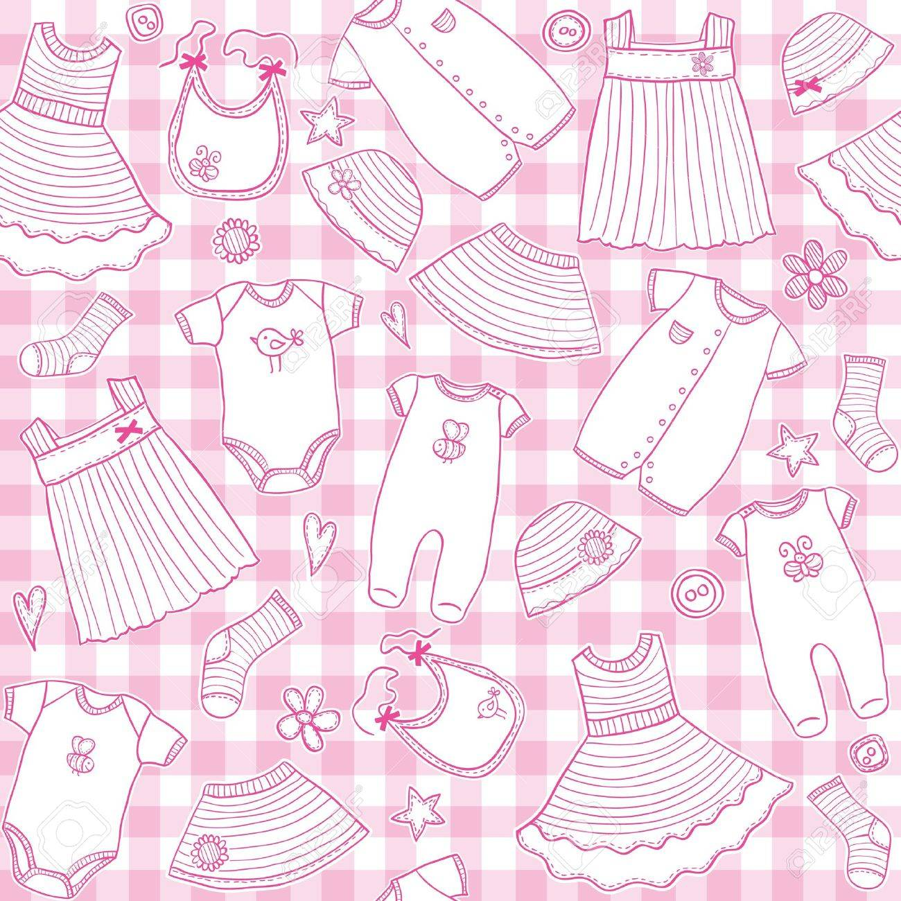 Baby girl clothes seamless pattern, vector illustration - 19295752