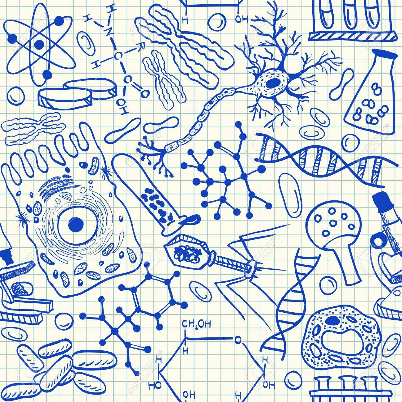 Biology doodles on school squared paper, seamless pattern Stock Vector - 19295745