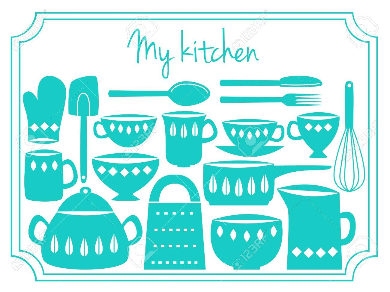 illustration of kitchen dishes and utensils, retro style royalty