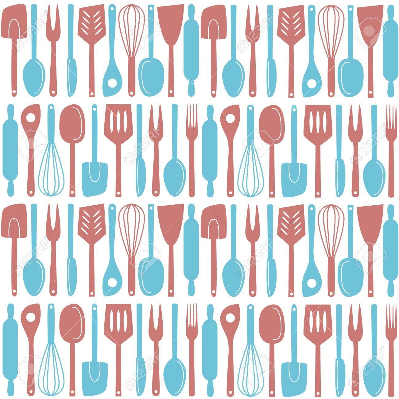 Illustration of kitchen utensils and cutlery, seamless pattern - 19379304