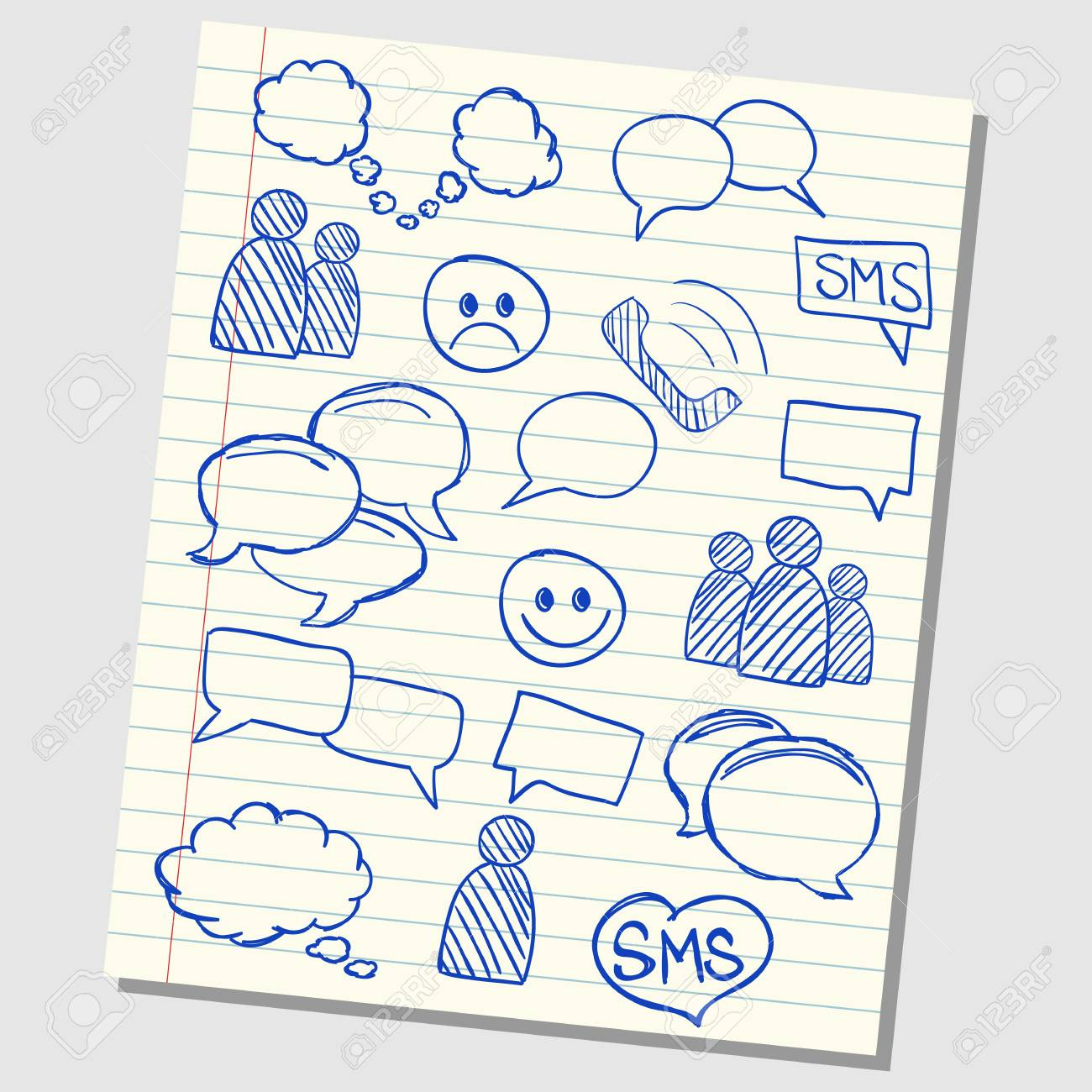 Illustration of communication and speech icons on school lined paper Stock Vector - 19846620