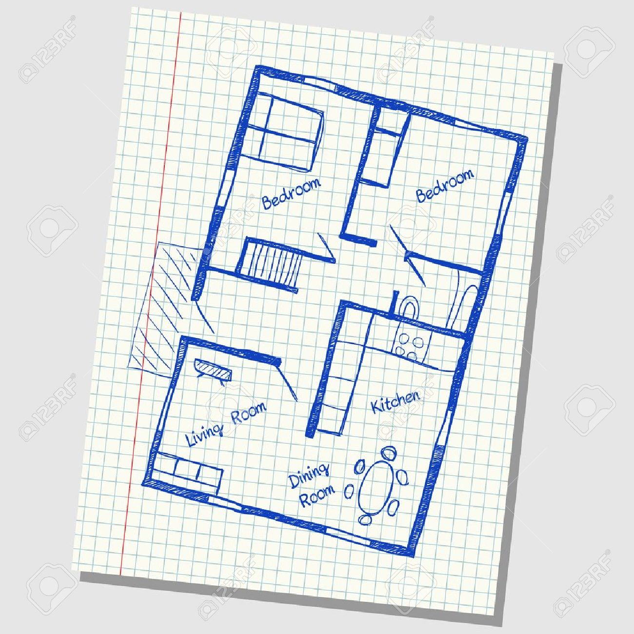 Illustration of floor plan doodle on school squared paper Stock Vector - 19846684